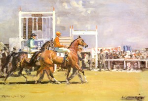 Going Out at Epsom, Sir Alfred James Munnings (1878-1959)