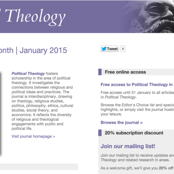 Political Theology is Maney Publishing's Journal of the Month