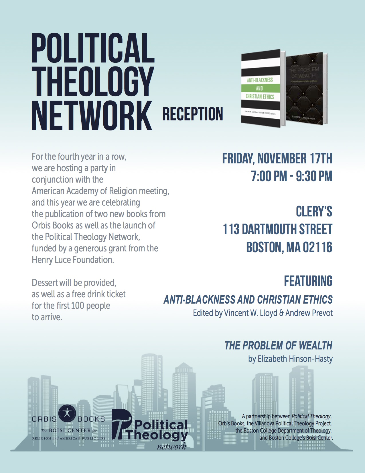 Annual Reception For Political Theology At 2017 AAR-SBL Meeting