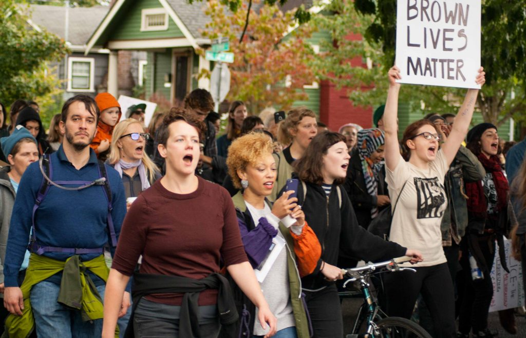 "2016 ""Black/Brown Lives Matter"" protest in Portland"